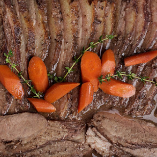 Slow-Cooked Brisket With Red Wine, Vinegar and Mustard.