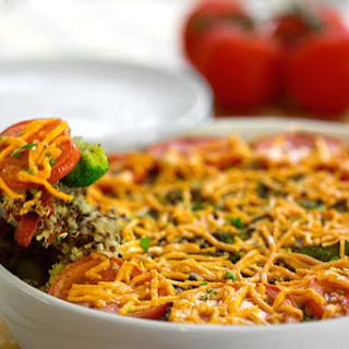 Quinoa, Broccoli, and Vegan Cheese Casserole.