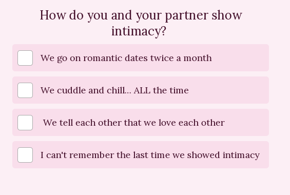 question on how you show intimacy
