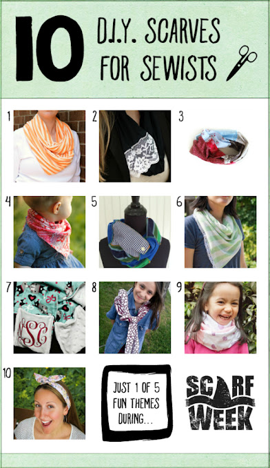 10 D.I.Y. Scarves for Sewists  |  Here are 10 do-able projects, many of which are beginner level, where you can stitch your way to your own D.I.Y. scarf!  We've got neck scarves, head scarves, scarves for kiddos and babies...and and this is just one of FIVE inspirational themes during the Second Annual Scarf Week. Let's get scarfy!