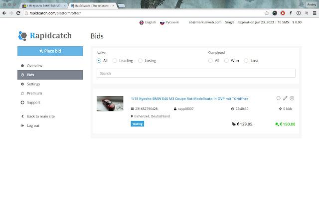 Rapidcatch Ebay Auction Sniper