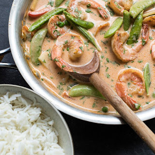 Red Curry Shrimp and Vegetables.