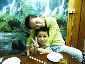 Photo: dinned out on lunar DragonBoat Day with baby son and his mom near their house, a Koreal cuisine restaurant. I just brought son visit zoo and treat bears, pigs, dears with pork and vegetable we bought. baby son and his proud mom, emakingir.