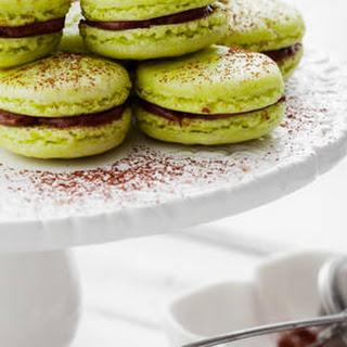 Pistachio Macarons With Chocolate Ganache Filling.