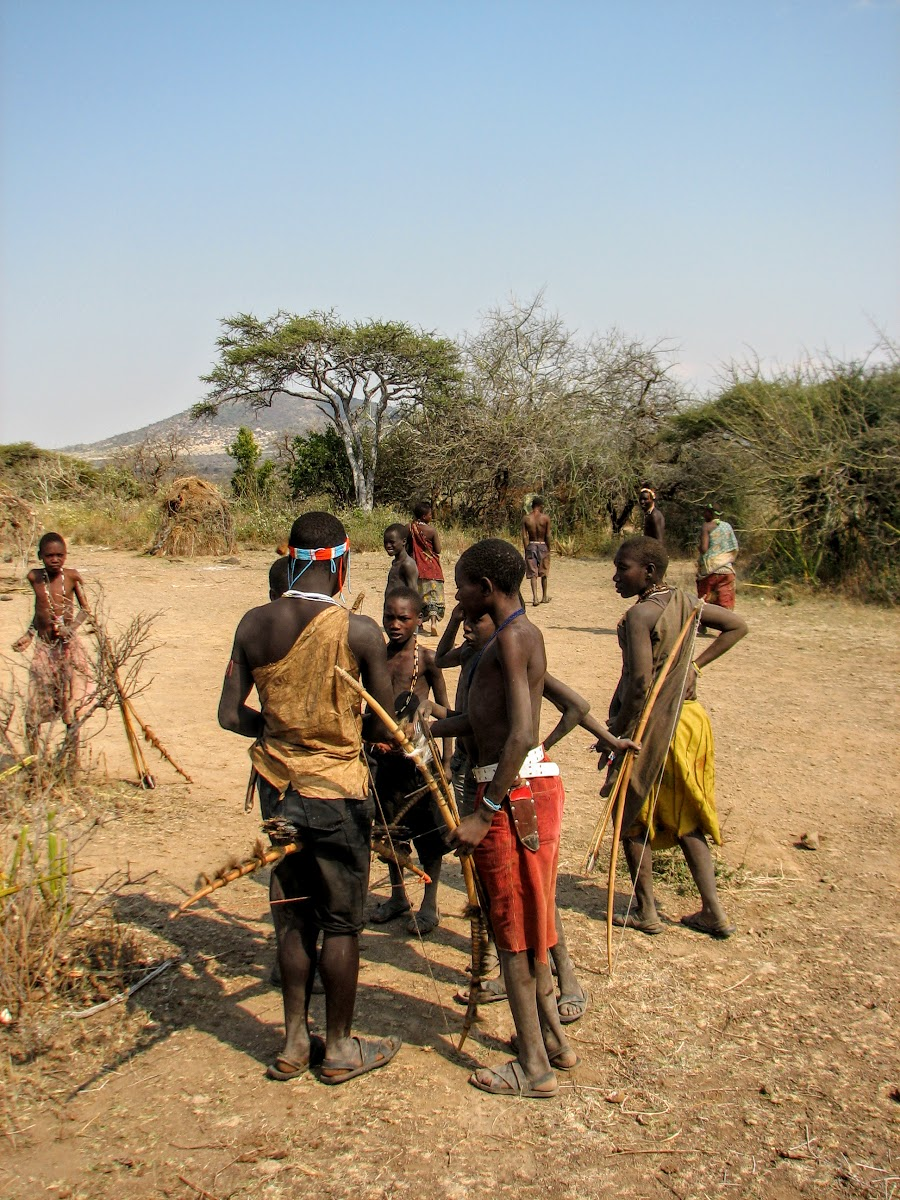 Hadzabe hunters back to the village