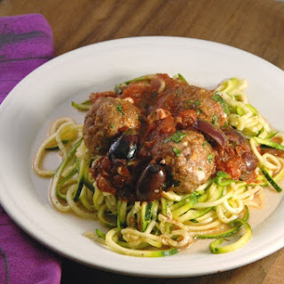 Greek Zucchini Spaghetti + Feta-Stuffed Lamb Meatballs with Pinot Marinara