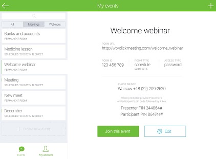ClickMeeting Webinars- screenshot thumbnail