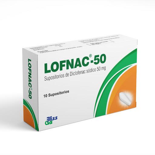 Diclofenac Sódico Lofnac 50mg 10 Supositorios