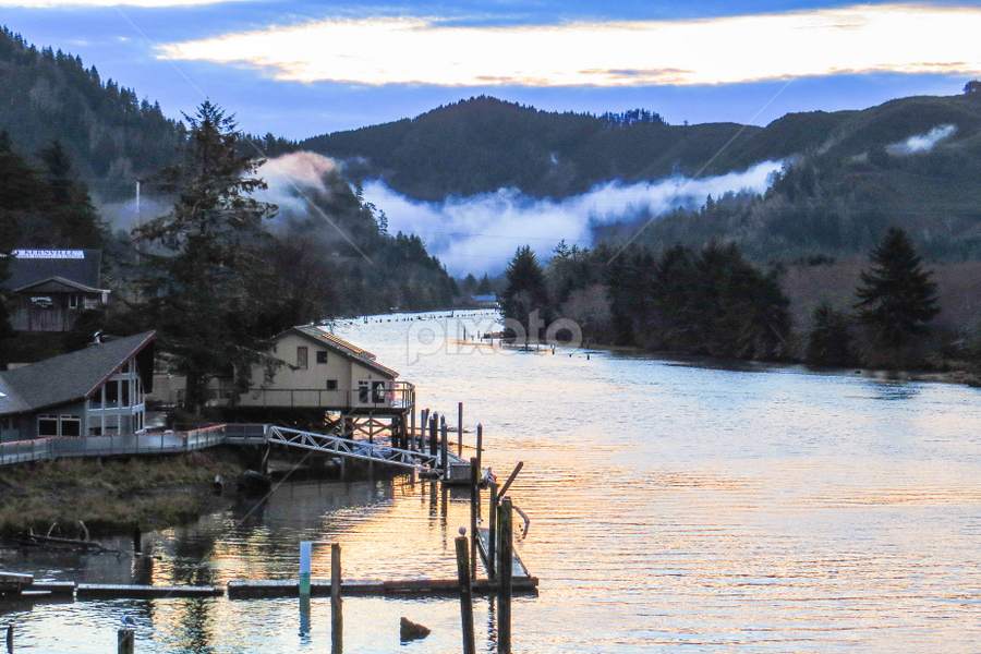 Siletz Bay in the Morning by Vonelle Swanson - Landscapes Mountains & Hills ( water, mountains, nature, bay, fog, or, trees, sunrise, house, grees )