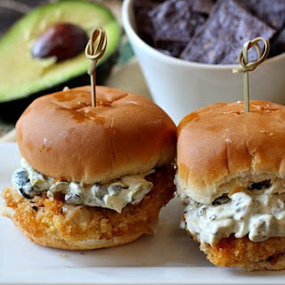 Fried Chicken Sliders with Poblano Mayo.