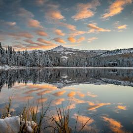 Silver Lake Sunrise  by Brandon Montrone - Landscapes Sunsets & Sunrises ( sunrise, reflection, nature, snow, winter, dawn, scenic, lake, landscape )
