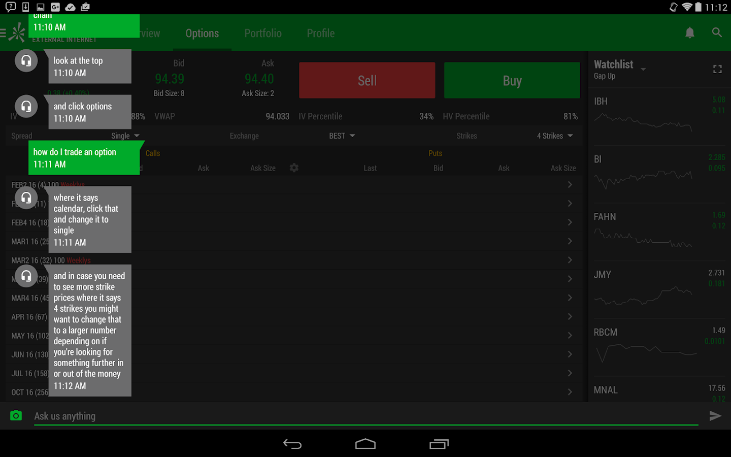 Options paper trading app