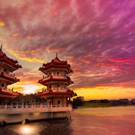 Sky burning sunset by CK Chong - Landscapes Sunsets & Sunrises ( singapore, twin pagoda @ chinese garden )