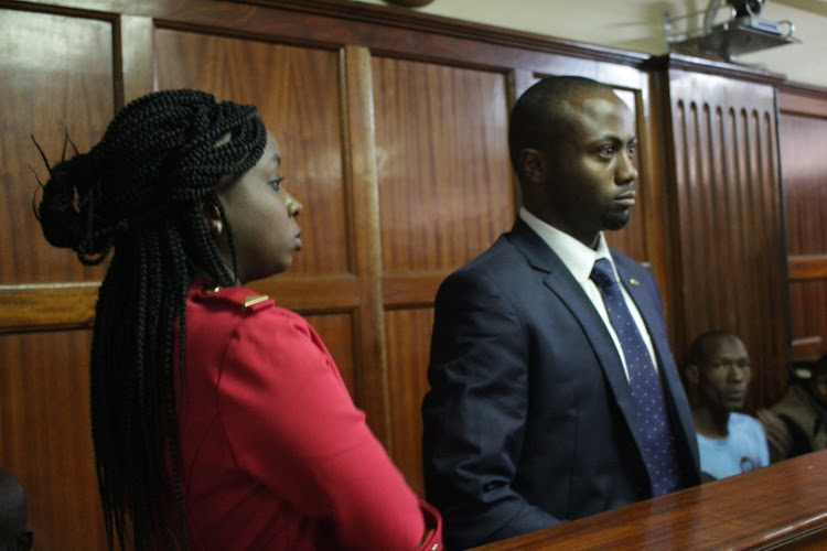 Jacque Maribe with Joseph Irungu at a Milimani court on Wednesday, March 13, 2019.