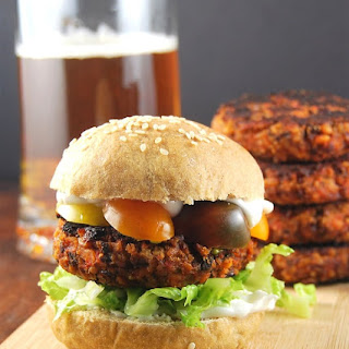 Kidney Bean and Roasted Red Pepper Burger.