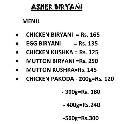 Asher Biryani menu 1