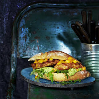 Fried Chicken Sandwich with Mango Salsa and Guacamole.