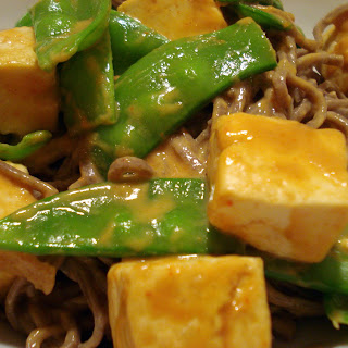 Vegan Peanut Butter Tofu with Snow Peas.