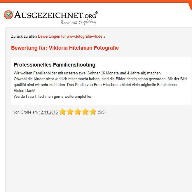 Bewertung für ein Fotoshooting in einem Heidelberger Fotostudio.