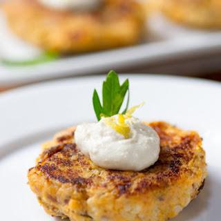 Sweet Potato Cauliflower Cakes with Dairy-Free Cashew Sour Cream