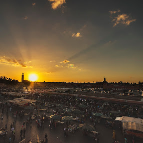 Marrakech sunset by Graham Kidd - Landscapes Sunsets & Sunrises ( marrakech, market, sunset )