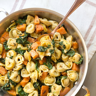 Creamy Tortellini with Sweet Potato and Spinach.