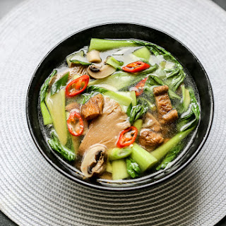 Hot and Sour Mushroom Soup with Bok Choy.
