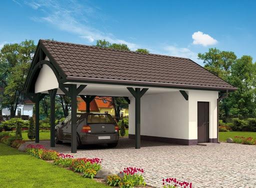 projekt G48 szkielet drewniany, wiata garażowa