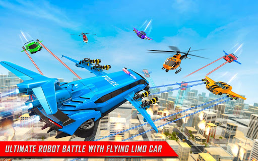 Flying Limo Robot Car Transform: Police Robot Game screenshots 14