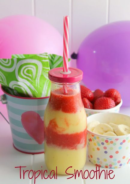 This layered Tropical Smoothie recipe is delicious and refreshing, a great way to start any morning!