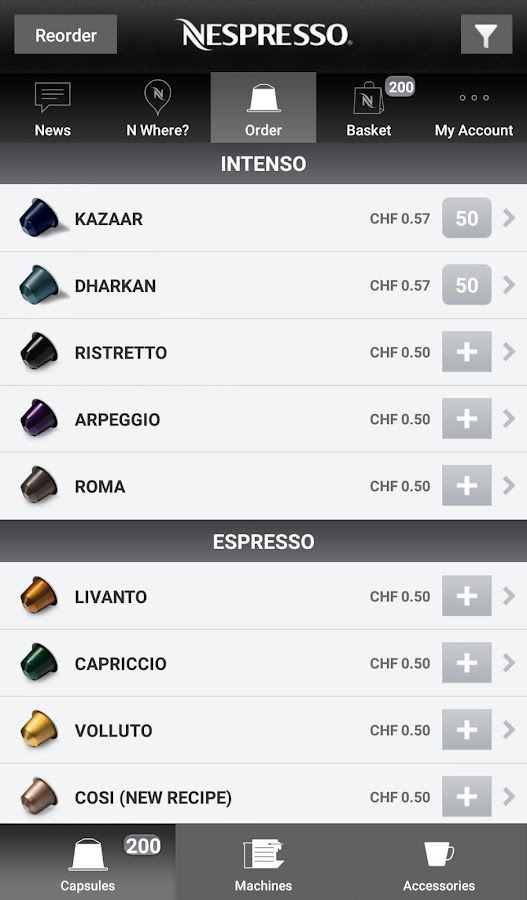 Nespresso- screenshot