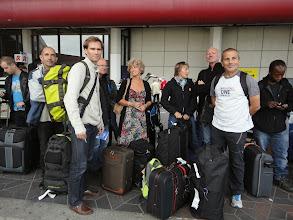 Photo: Vendredi après-midi à la sortie du terminal de l'aéroport de Berlin, en attendant le bus pour rejoindre l'hôtel.