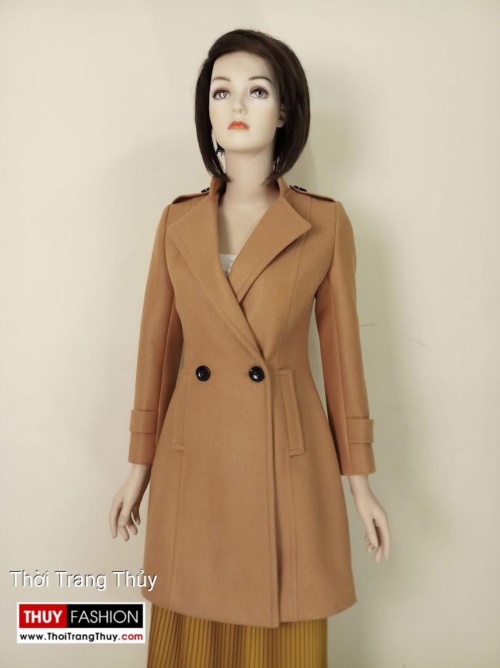 Áo khoác dạ nữ dáng dài màu lạc đà V653 thời trang thủy