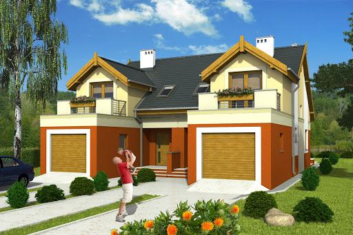 projekt Magda z garażem 1-st. bliźniak A-BL