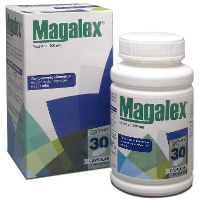 Magnesio Magalex 100 mg X 30 Cápsulas Producto de Laboratorios Farma. Complemento alimenticio de citrato de magnesio en cápsulas. Libre de gluten.