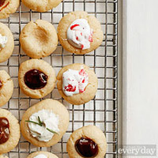 Vanilla Thumbprint Cookies with Marshmallow Mint Filling