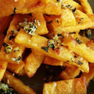 Baked Polenta Fries with Italian Herb & Cheese Topping