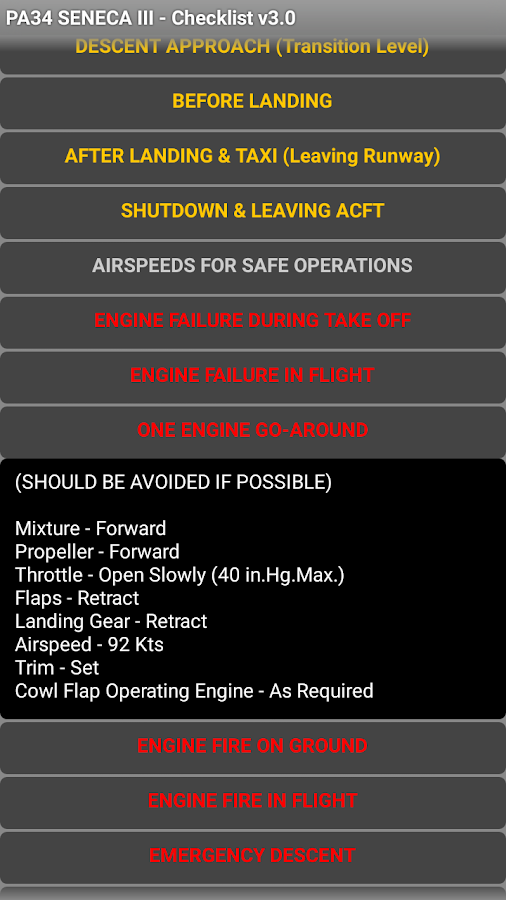 PA34 Seneca III Checklist- screenshot