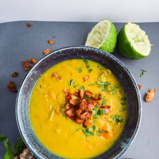 Chickpea Turmeric Stew with Thai Red Curry Coconut Bacon.