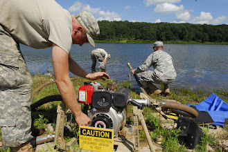 Photo: Wisconsin National Guard Soldiers from the 257 Brigade Support Battalion performed their 2-week annual training at Camp Ripley, Minn. this month. Water Treatment Specialists of Alpha Company spent a few days at Lake Ferrell testing the water, their skills and their equipment.  Photo by Sgt. 1st Class Daniel Ewer http://www.minnesotanationalguard.org/press_room/e-zine/articles/index.php?item=3429