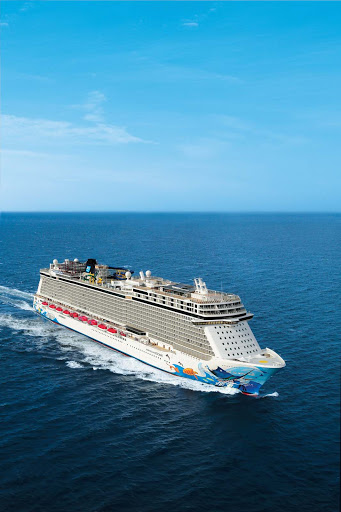 Norwegian-Escape-aerial-at-sea - Norwegian Escape carries roughly 4,248 passengers on voyages to the Caribbean.