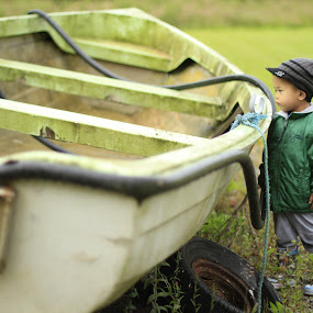 Gone Fishing by Alfred Encallado - Babies & Children Toddlers ( child, max, green, boat, fisherman )