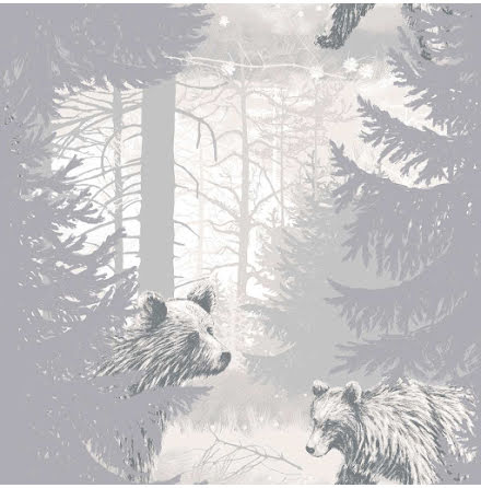 Karhunkierros Pohjola 5271-1 Tapet grå med björnar