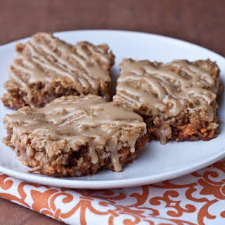 Oatmeal Butterscotch Bars with Brown Sugar Glaze.