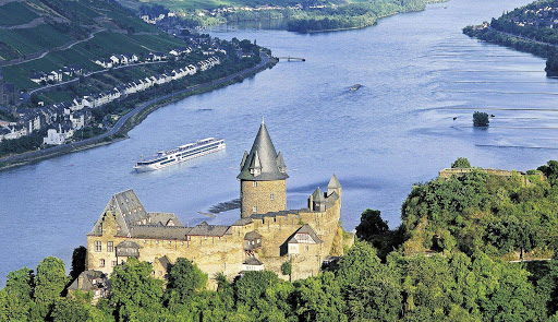 Viking Hermod sails past a 12th century castle in Stahleck, Germany. The ship offers cruises on the Danube, the Rhine and through the heart of Normandy in northern France.