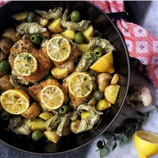 Roasted Chicken with Olives, Potato, Artichoke and Lemon.