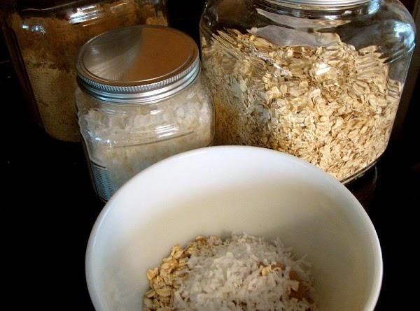 Combine 1/3 cup brown sugar, oats, coconut and butter Sprinkle over the peach mixture.  Shield...