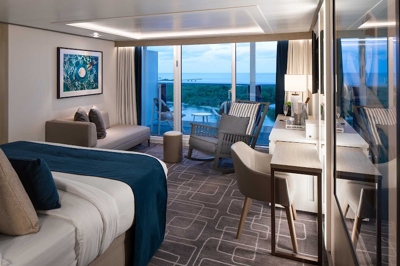 There are 146 Sky Suites aboard Celebrity Edge measuring 298 to 418 square feet.