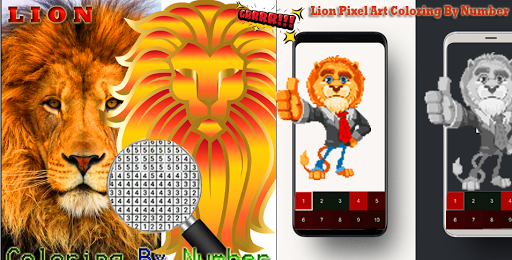 Lion Pixel Art-Animal Coloring By Number 7.0 screenshots 1