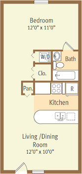 Go to Studio, One Bath Floorplan page.